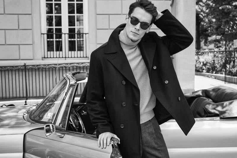 A sleek vision, Harry Rowley fronts London Fog's fall-winter 2019 campaign.