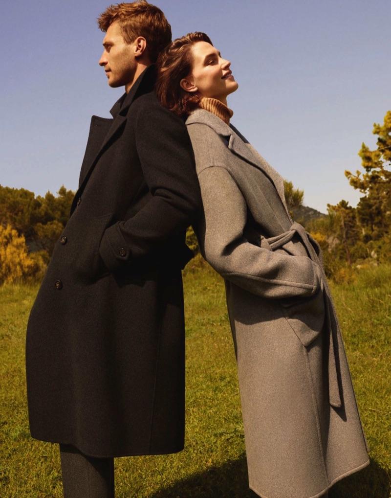Models Clément Chabernaud and Crista Cober front Loro Piana's fall-winter 2019 campaign.
