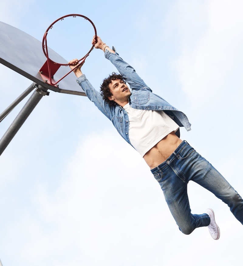 Hitting the basketball court, Miles McMillan fronts Lucky Brand's fall-winter 2019 campaign.