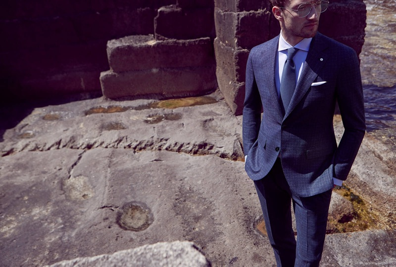 Sporting a blue suit, Jacob Coupe fronts Luigi Bianchi Mantova's fall-winter 2019 campaign.