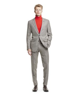 Made in USA Wool Houndstooth Suit Jacket