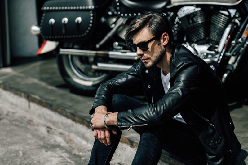 Male Model Leather Jacket Motorcycle Sunglasses