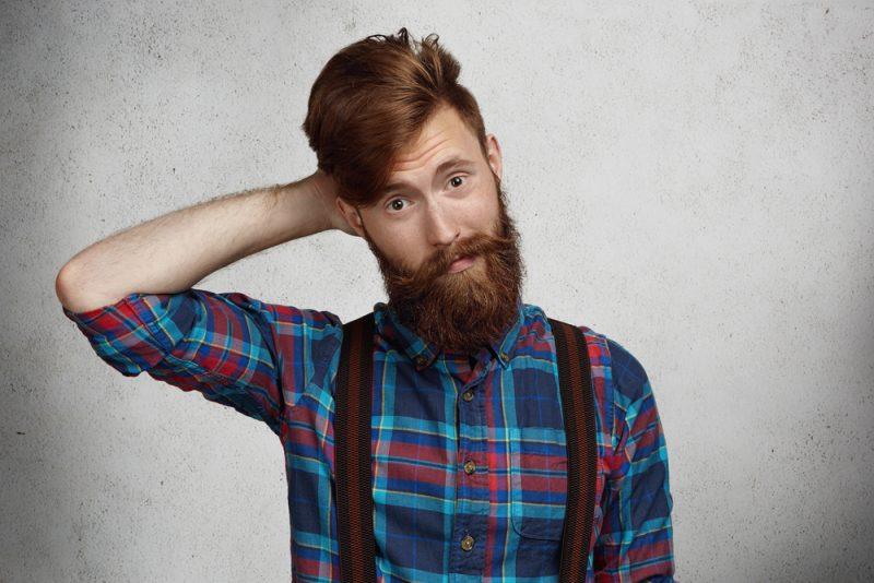 Male Model Red Hair Suspenders