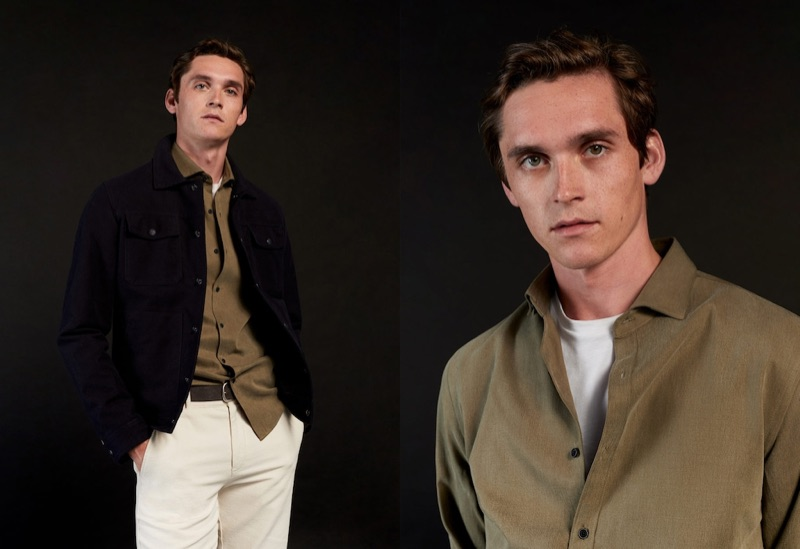 Anders Hayward models neutral-colored fashions for Mango.