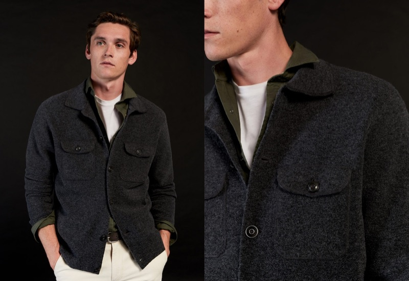 A chic vision, Anders Hayward wears the latest men's fashions from Mango.