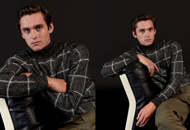 Front and center, Anders Hayward dons a checked sweater by Mango.