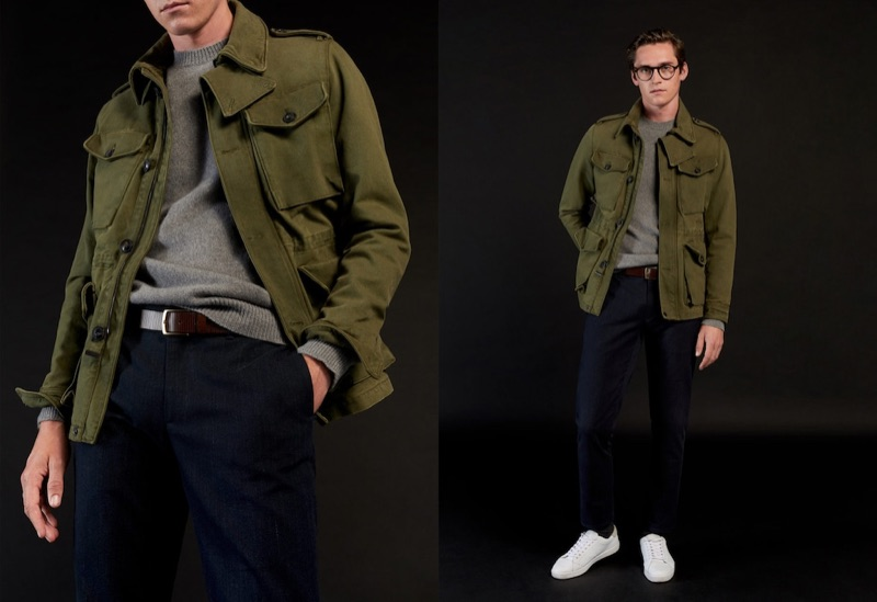 Embracing military-inspired style, Anders Hayward wears Mango.
