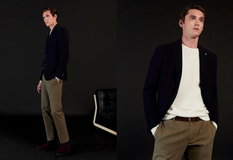 Donning modern tailoring, Anders Hayward wears Mango.