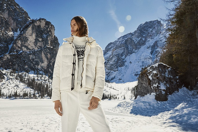 Embracing winter whites, Dominik G. fronts Manuel Ritz's 2019 campaign.