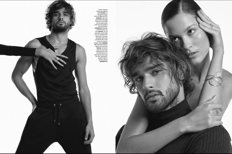 Marlon Teixeira stars in an editorial for Harper's Bazaar Brasil.