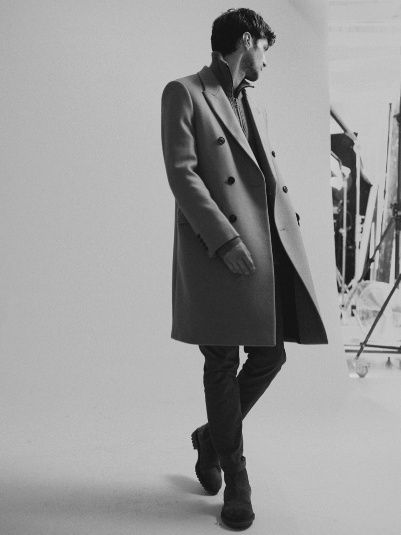 A sharp vision, Matthew Bell sports a double-breasted coat from Scotch & Soda.