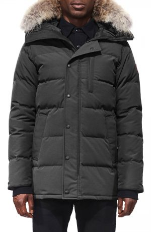 Men's Canada Goose 'Carson' Slim Fit Hooded Packable Parka With Genuine Coyote Fur Trim, Size X-Small - Grey
