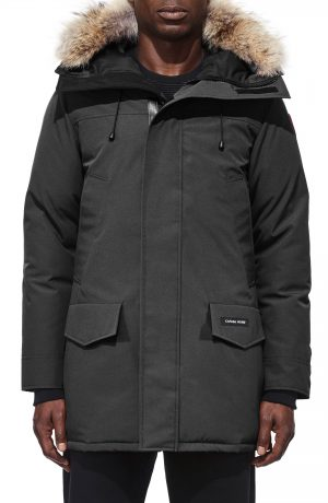 Men's Canada Goose Langford Fusion Fit Parka With Genuine Coyote Fur Trim, Size X-Small - Grey