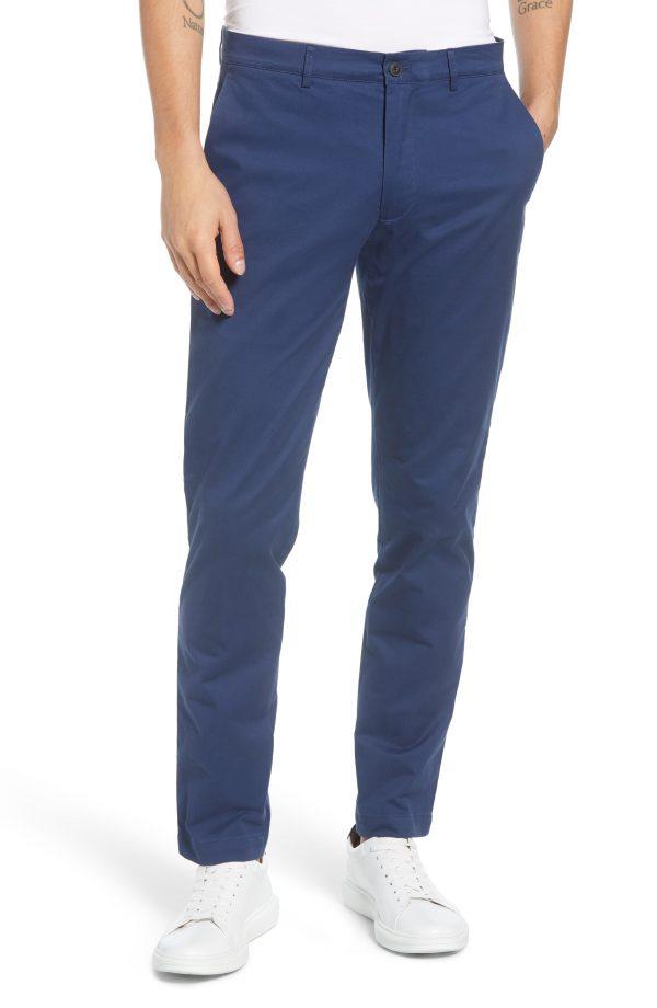 Men's Club Monaco Connor Slim Fit Stretch Cotton Chino Pants, Size 32 x 34 - Blue