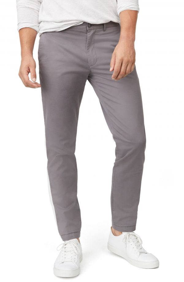 Men's Club Monaco Connor Slim Fit Stretch Cotton Chino Pants, Size 34 x 34 - Grey