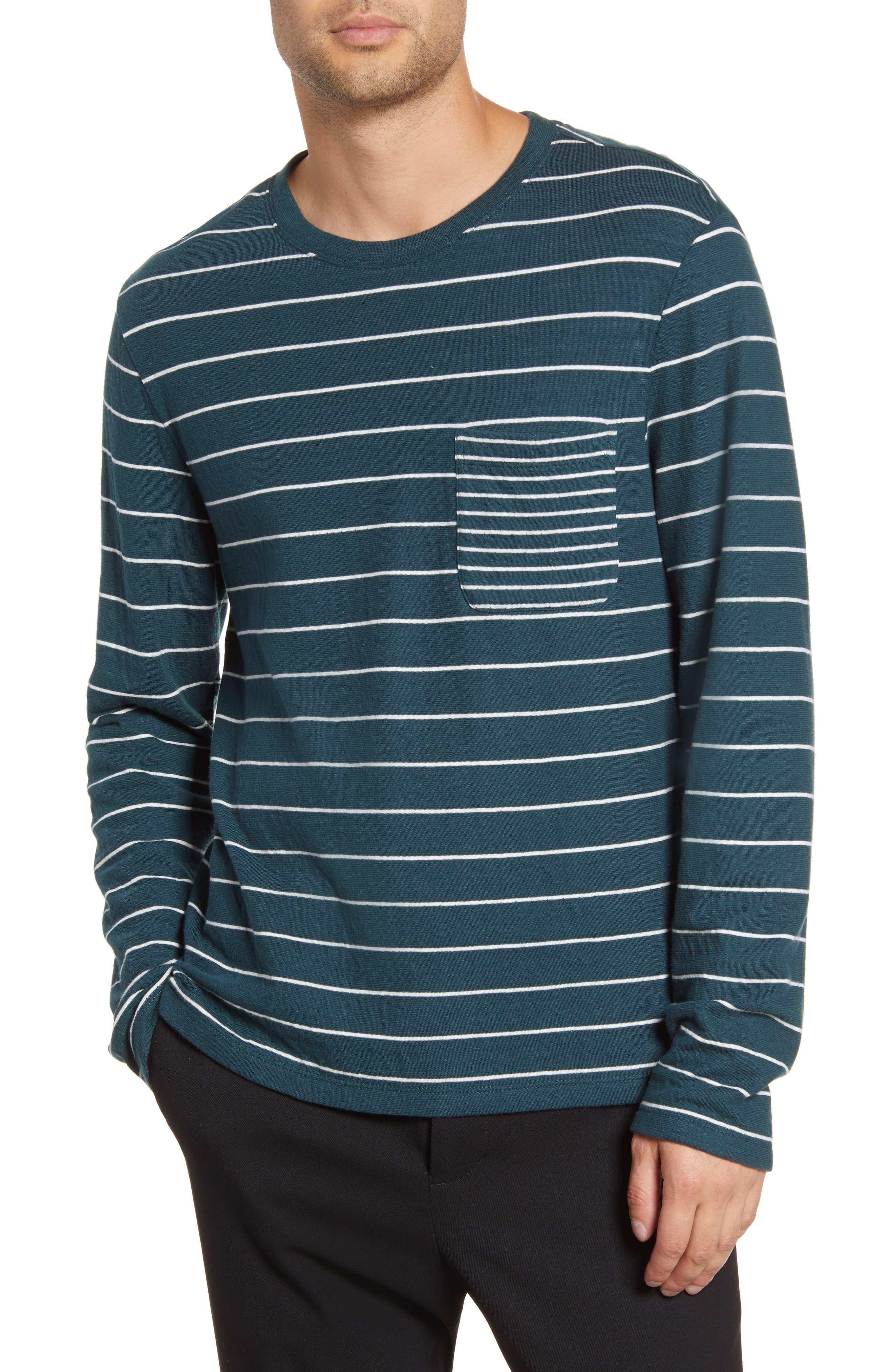 Men's Club Monaco Duofold Slim Stripe Pocket T-Shirt, Size X-Small - Green