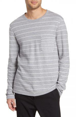 Men's Club Monaco Duofold Slim Stripe Pocket T-Shirt, Size X-Small - Grey