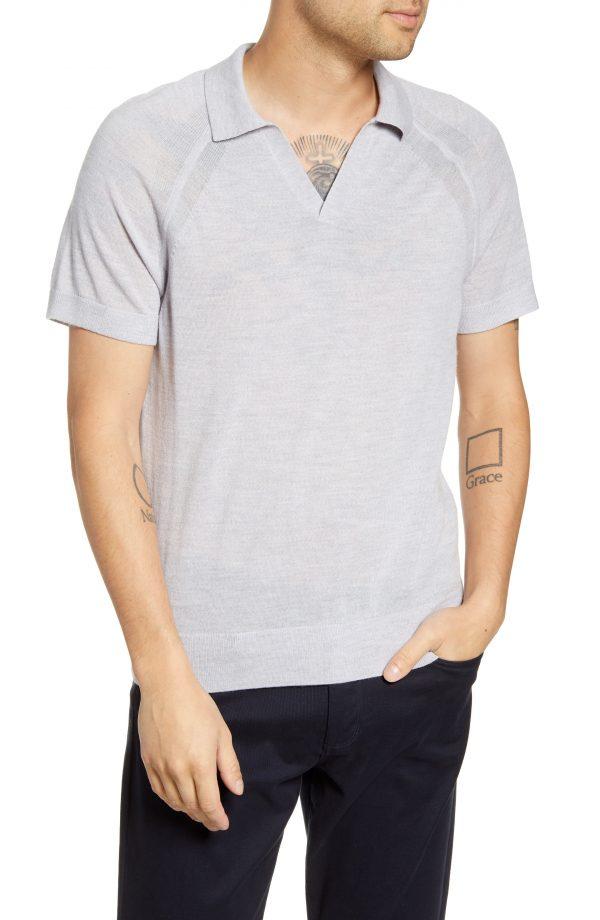 Men's Club Monaco Johnny Collar Wool Polo Shirt, Size Medium - Grey
