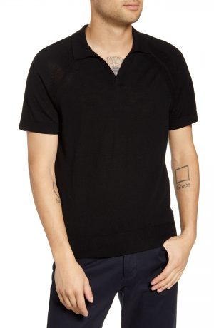 Men's Club Monaco Johnny Collar Wool Polo Shirt, Size XX-Large - Black