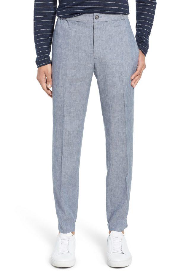 Men's Club Monaco Lex Slim Fit Linen Blend Pants, Size Large - Blue
