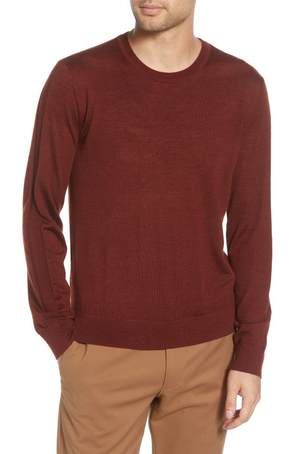 Men's Club Monaco Luxe Merino Wool Blend Crewneck Sweater, Size X-Small - Brown