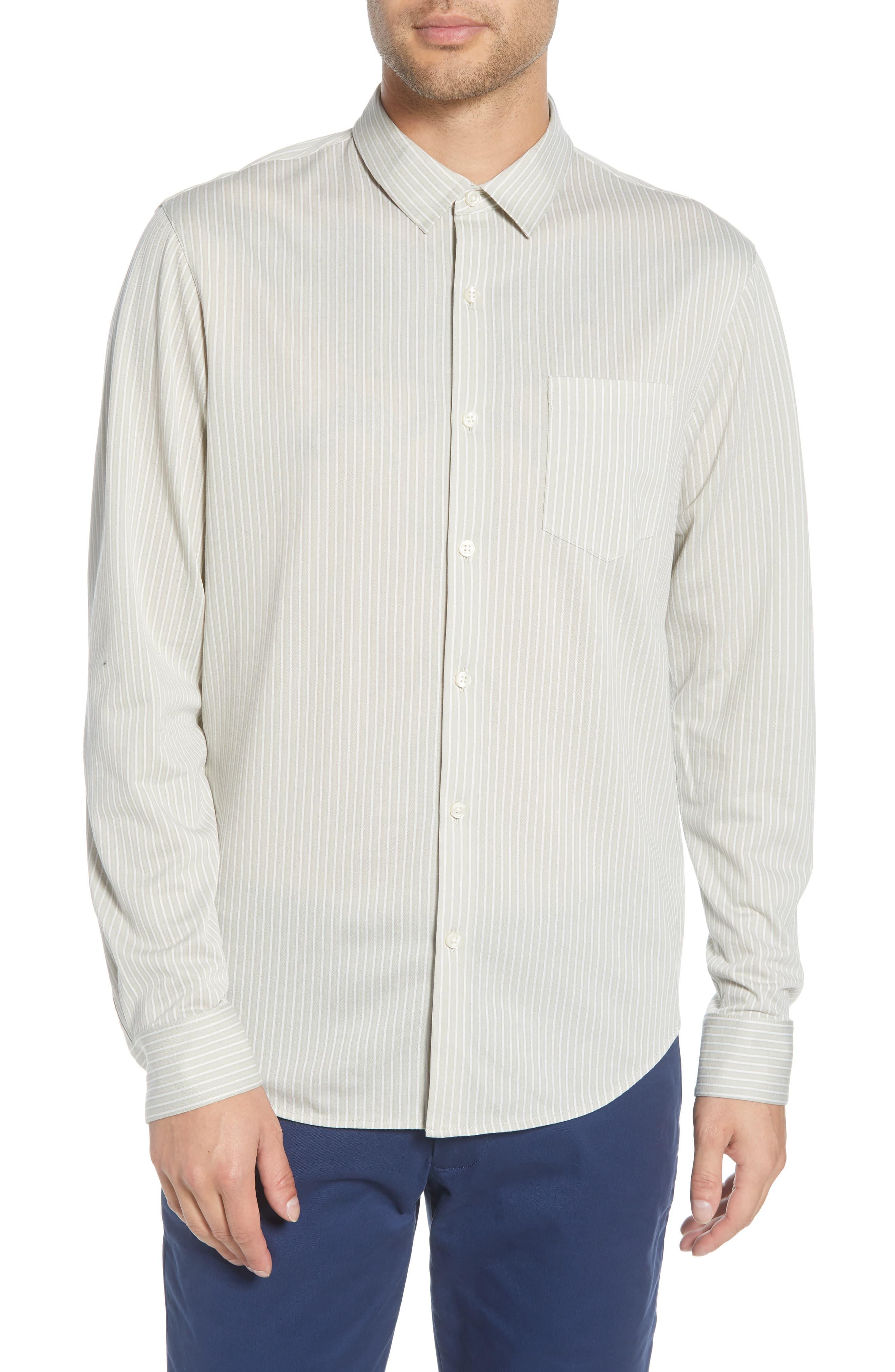 Men's Club Monaco Regular Fit Stripe Cotton Knit Sport Shirt, Size X-Large - Beige