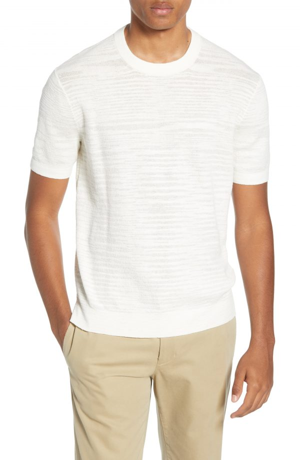 Men's Club Monaco Short Sleeve Cotton Sweater, Size Medium - White