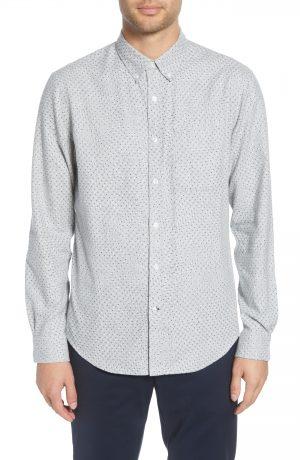 Men's Club Monaco Slim Fit Flannel Button-Down Shirt, Size Small - Grey