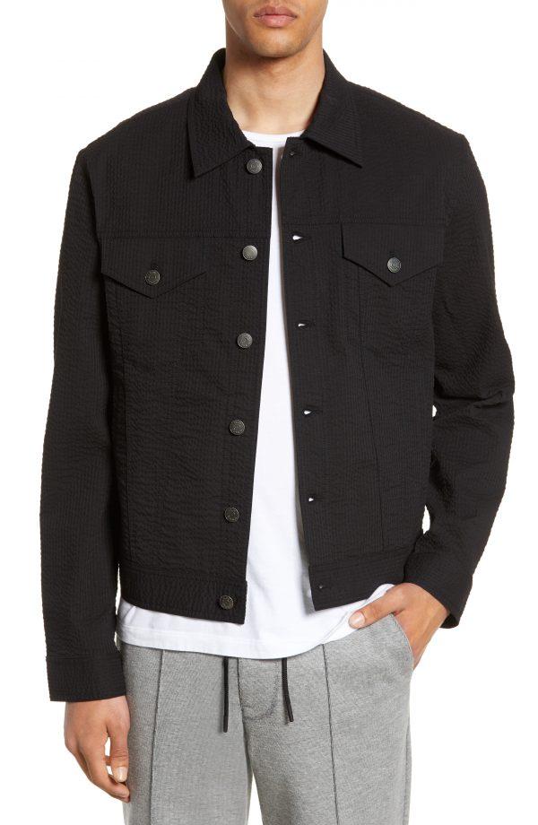 Men's Club Monaco Slim Fit Seersucker Jacket, Size Medium - Black
