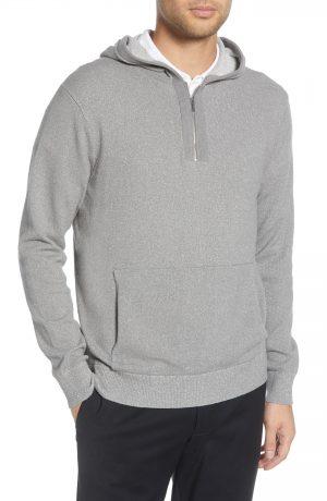 Men's Club Monaco Texture Quarter Zip Hoodie, Size X-Small - Grey