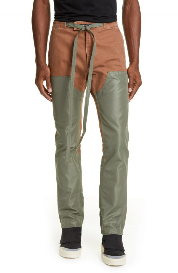 Men's Fear Of God Double Front Nylon & Canvas Work Pants, Size Small - Green