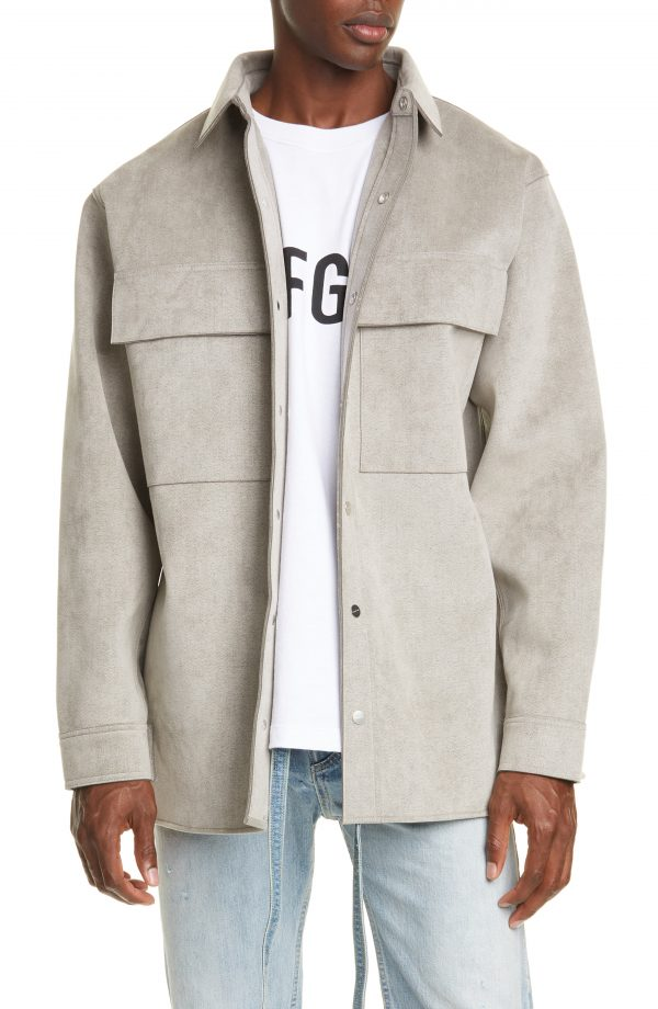 Men's Fear Of God Sueded Shirt Jacket, Size X-Large - Grey