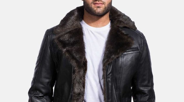 Men's Furcliff Black Leather Jacket
