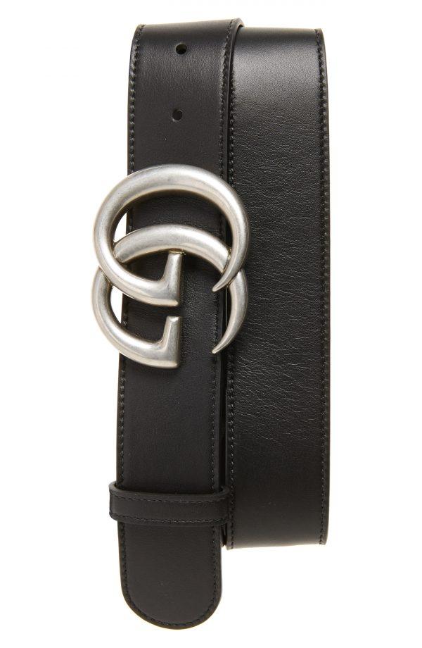 Men's Gucci Logo Leather Belt, Size 105 EU - Black