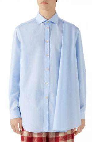 Men's Gucci Pleated Stripe Button-Up Shirt, Size 46 EU - Blue