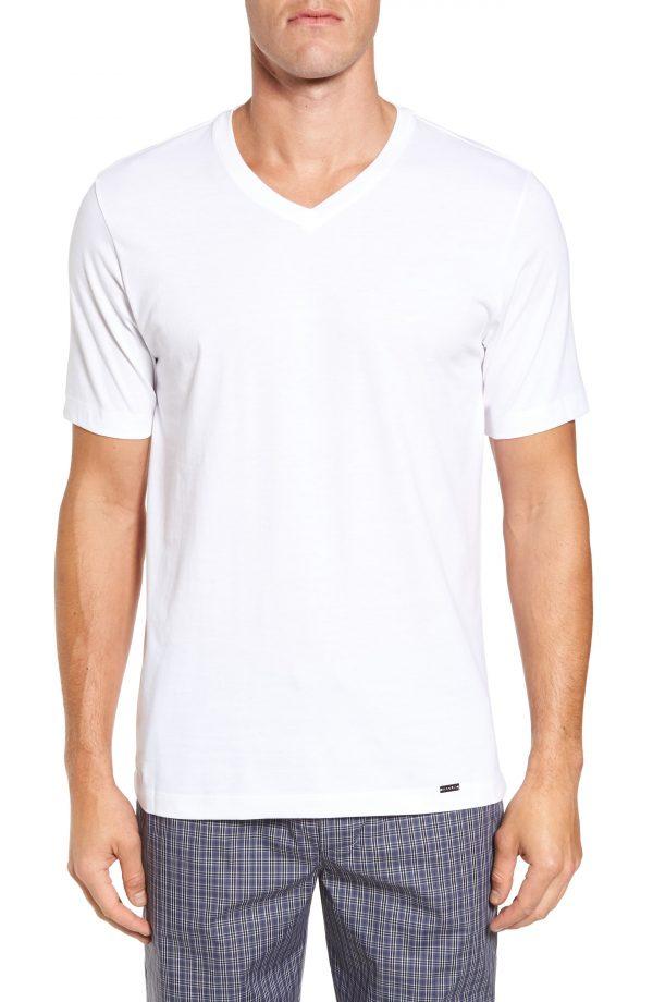 Men's Hanro Living V-Neck T-Shirt, Size Small - White