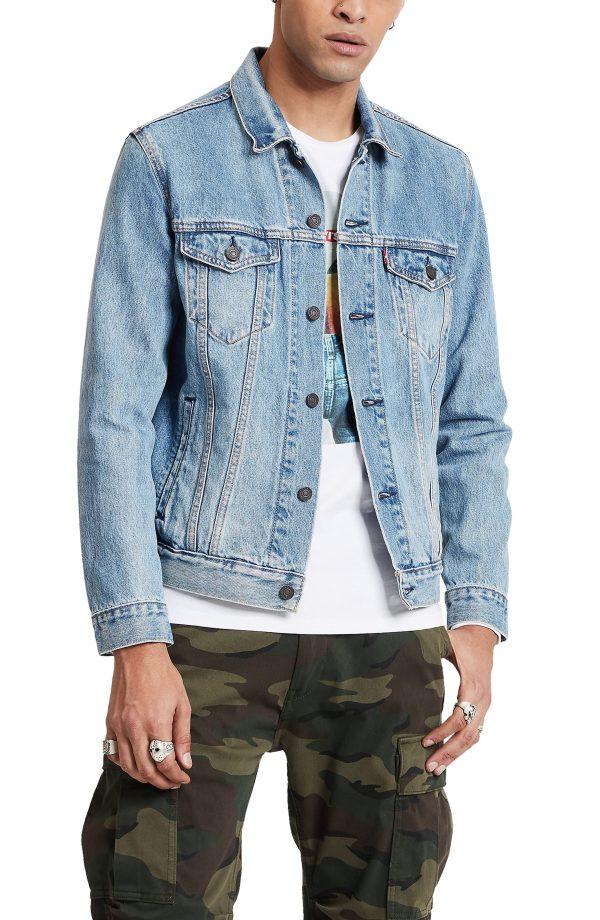 Men's Levi's The Trucker Embroidered Back Denim Jacket, Size Small - Black