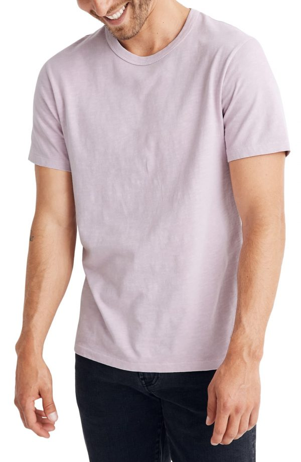 Men's Madewell Allday Slim Fit Garment Dyed T-Shirt, Size Small - Pink