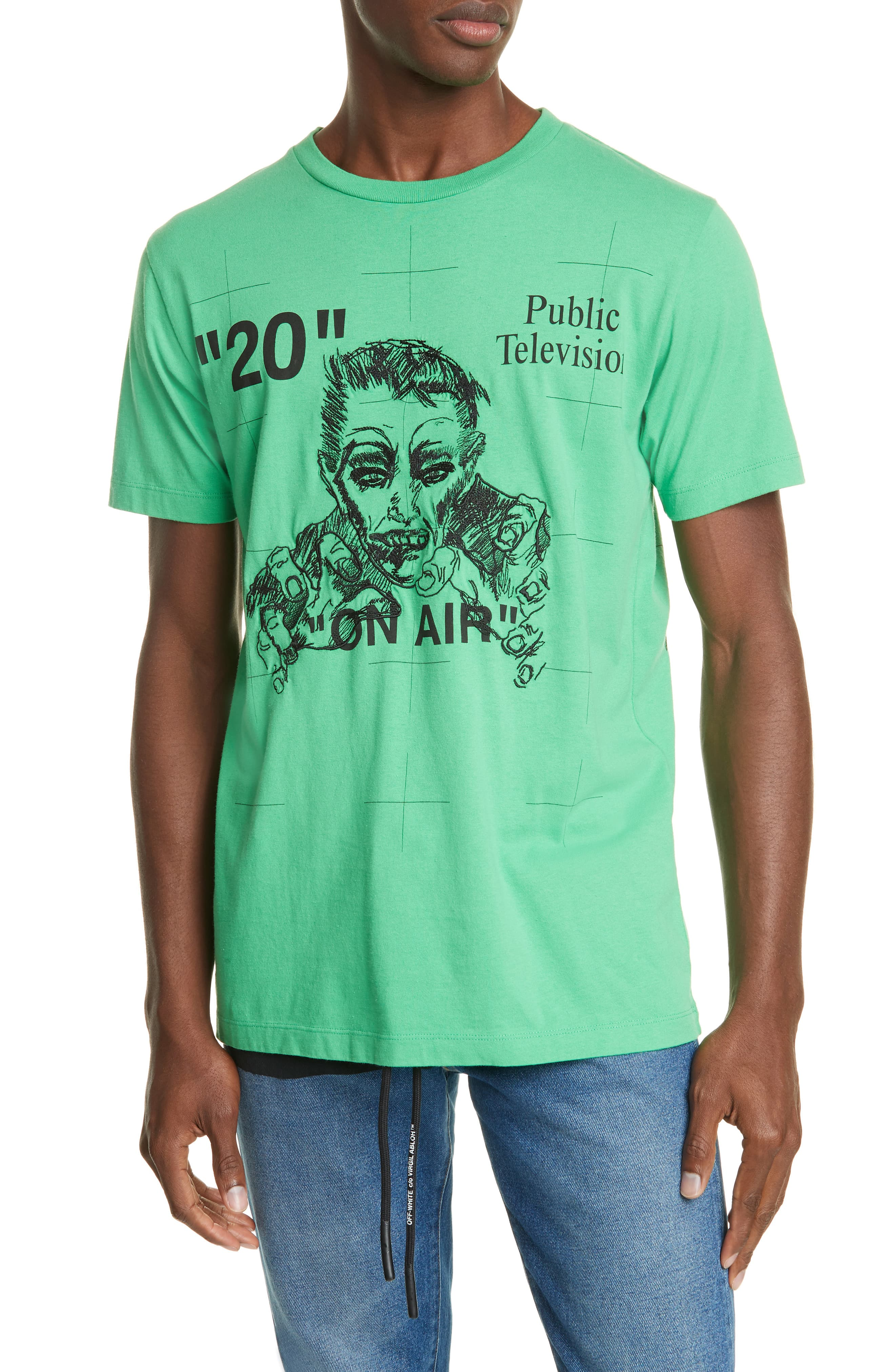 Men's Off White Mirko Artist Embroidered Slim Fit T Shirt, Size X Small Green