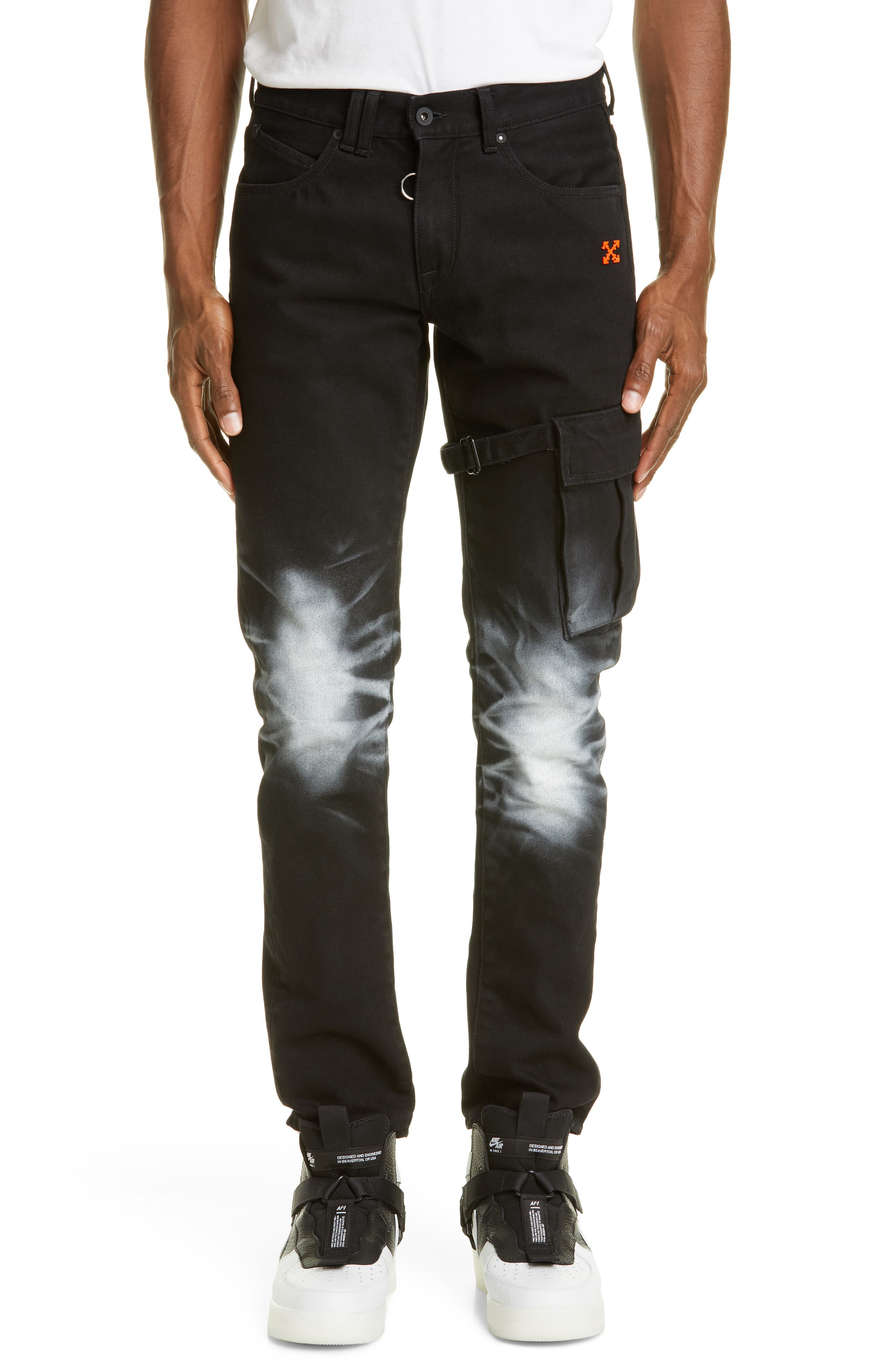 best collection attractive price skilful manufacture Men's Off-White Slim Fit Asymmetrical Cargo Jeans, Size 28 - Black