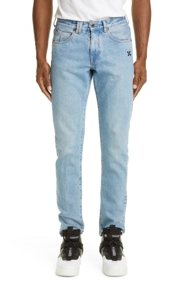 Men's Off-White Slim Fit Jeans, Size 28 - Blue