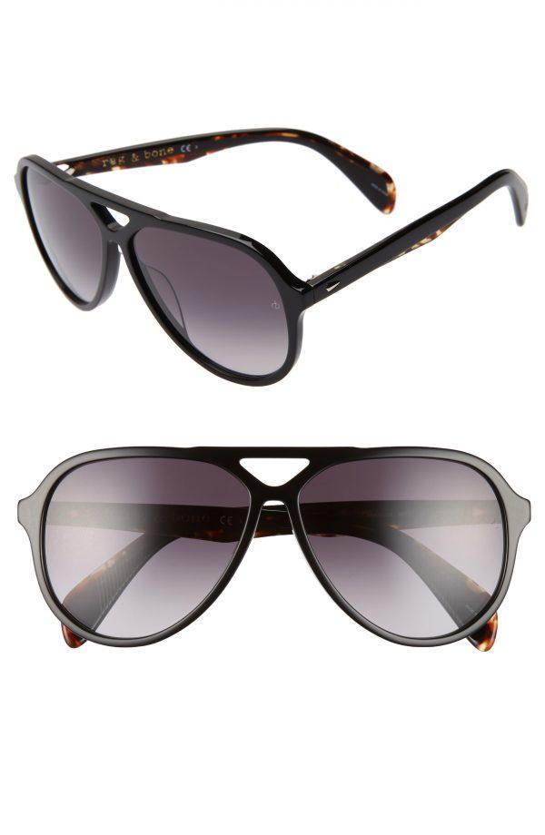 Men's Rag & Bone 60Mm Aviator Sunglasses - Black