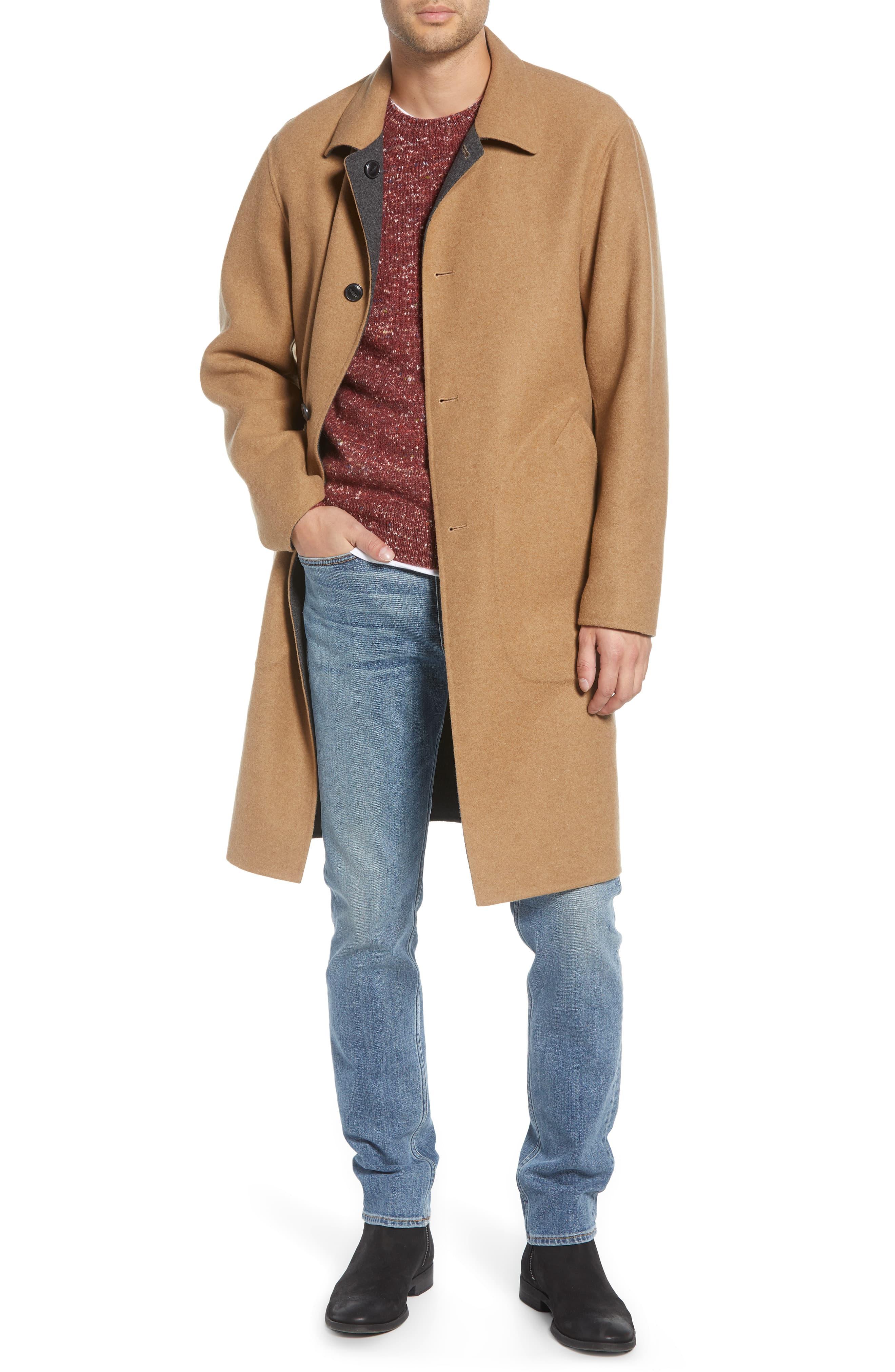 Men's Rag & Bone Brent Reversible Wool Blend Coat, Size Small - Beige