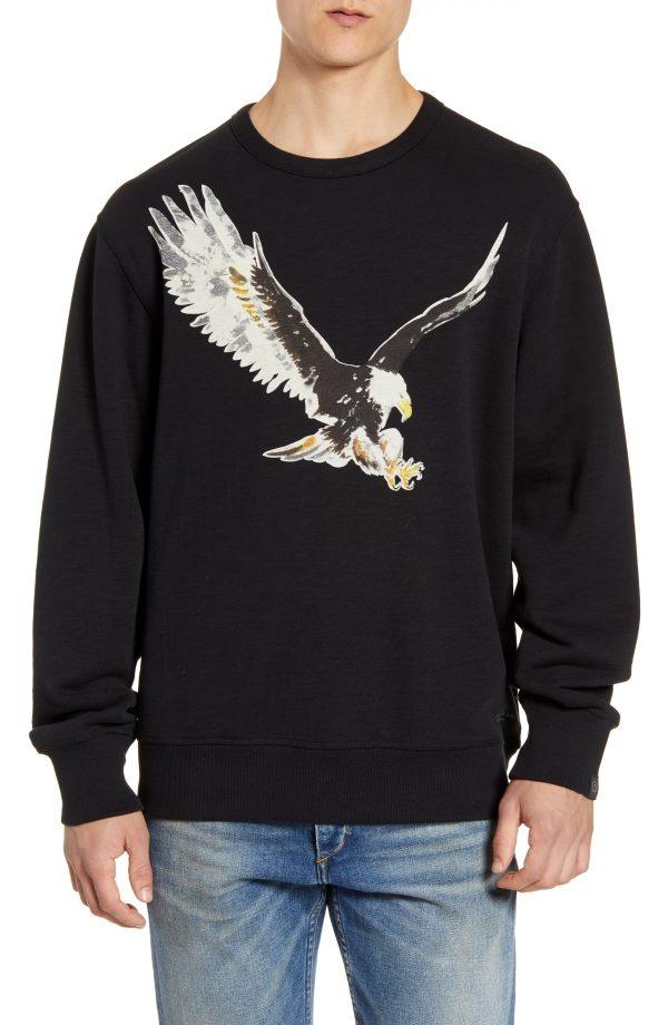Men's Rag & Bone Eagle Graphic Crewneck Sweatshirt, Size Small - Black
