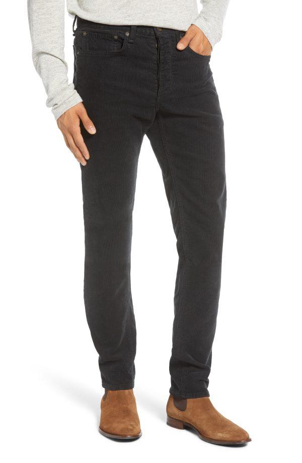 Men's Rag & Bone Fit 2 Slim Fit Corduroy Pants, Size 29 - Black