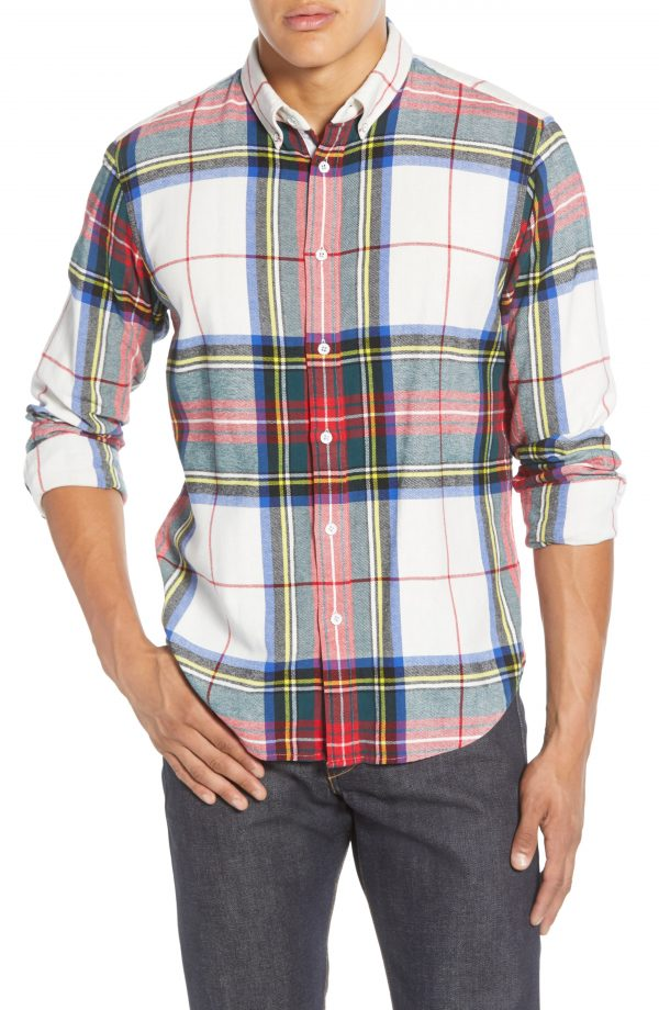 Men's Rag & Bone Tomlin Slim Fit Plaid Button-Down Shirt, Size Medium - White