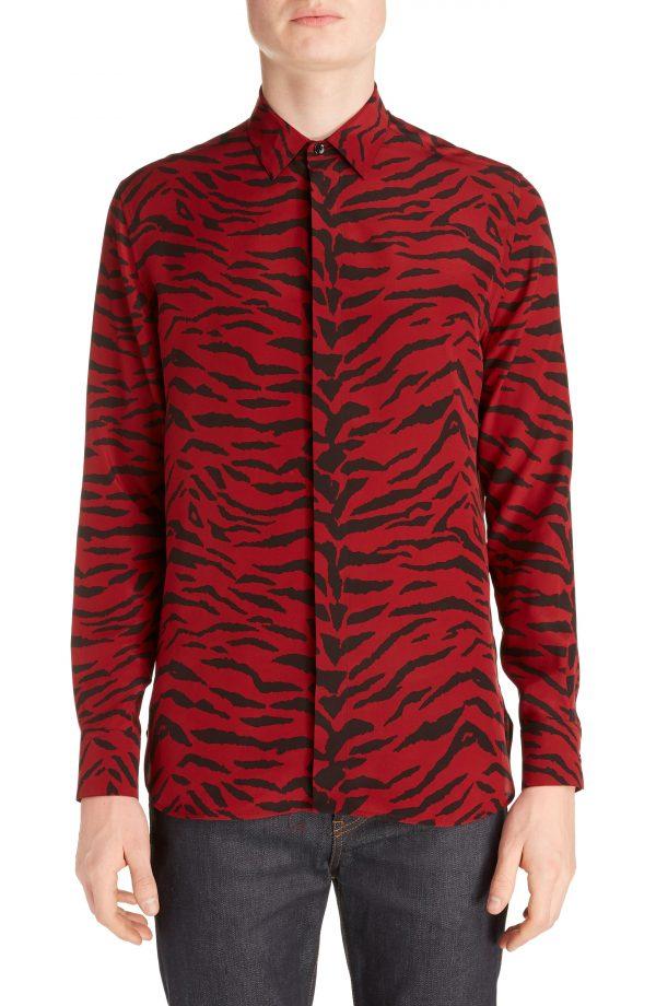 Men's Saint Laurent Zebra Print Silk Shirt