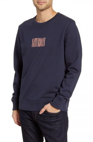 Men's Saturdays Nyc Bowery Middle Condensed Crewneck Sweatshirt, Size Small - Blue