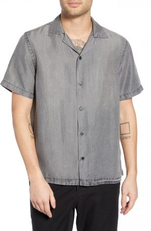 Men's Saturdays Nyc Canty Denim Camp Shirt, Size Large - Grey
