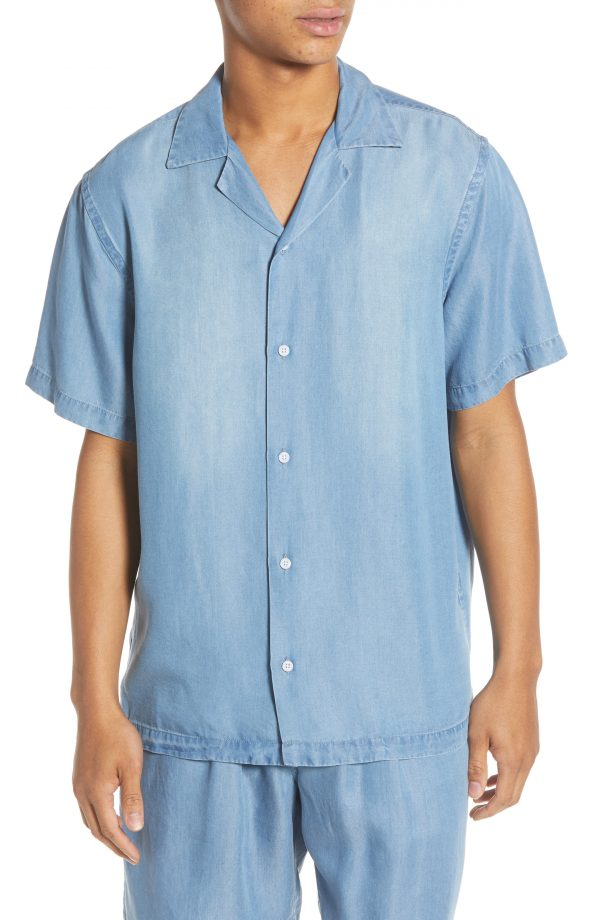 Men's Saturdays Nyc Canty Denim Camp Shirt, Size Small - Blue